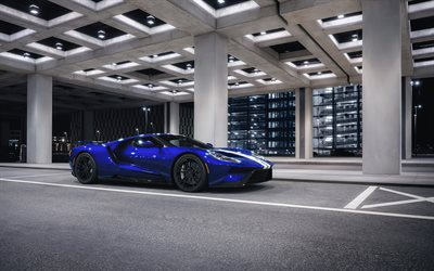 Ford GT, 2020, blue supercar, front view, exterior, hypercar, American sports cars, Ford