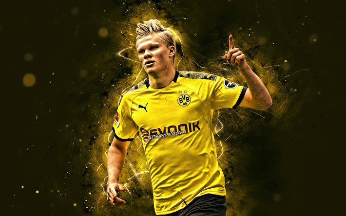 Download Wallpapers Erling Haaland 4k Joy Borussia Dortmund Fc Norwegian Footballers Bvb Goal Soccer Erling Braut Haaland Bundesliga Football Erling Haaland Bvb Yellow Neon Lights Erling Haaland 4k For Desktop Free Pictures