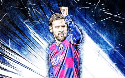 Lionel Messi, blue abstract rays, 4k, Barcelona FC, argentinian footballers, FCB, football stars, La Liga, grunge art, Messi, Leo Messi, LaLiga, Lionel Messi 4K, Spain, Barca, soccer