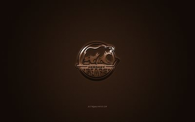 Hershey Bears, American hockey club, AHL, marrone, logo, marrone contesto in fibra di carbonio, hockey, Hershey, Pennsylvania, USA, Hershey Bears logo
