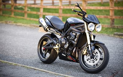 Triumph Street Triple, 4k, road, superbikes, black motorcycles, Triumph
