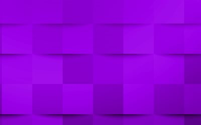 Violet 3d squares texture, Violet creative texture, Violet 3d abstraction, Violet 3d background, Violet mosaic texture