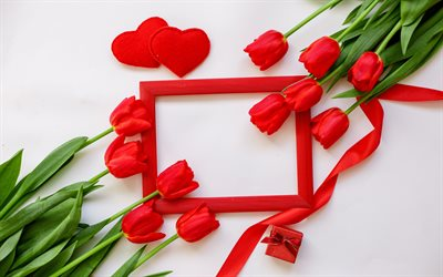 red frame with tulips, spring frame, red tulips, spring flowers, romantic red frame, romantic greeting card template, tulips