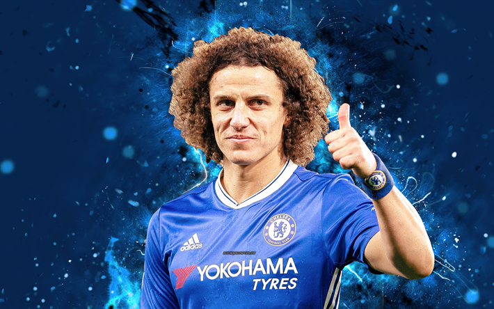 Download Wallpapers 4k, David Luiz, Abstract Art, Football