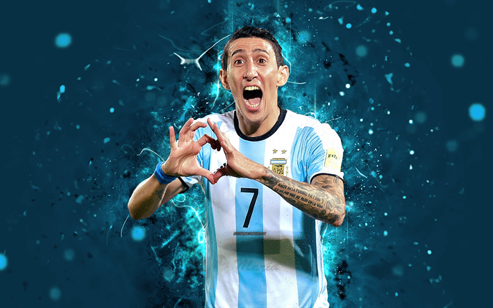 4k, Angel Di Maria, abstract art, Argentina National Team, fan art, Di Maria, soccer, footballers, neon lights, Argentinean football team