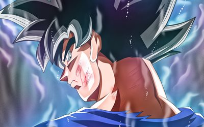 4k, Ultra Instinct Goku, warrior, close-up, DBS, Dragon Ball, Migatte No Gokui, Mastered Ultra Instinct, art, Super Saiyan God, Dragon Ball Super