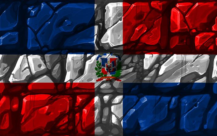 Dominican Republic flag, brickwall, 4k