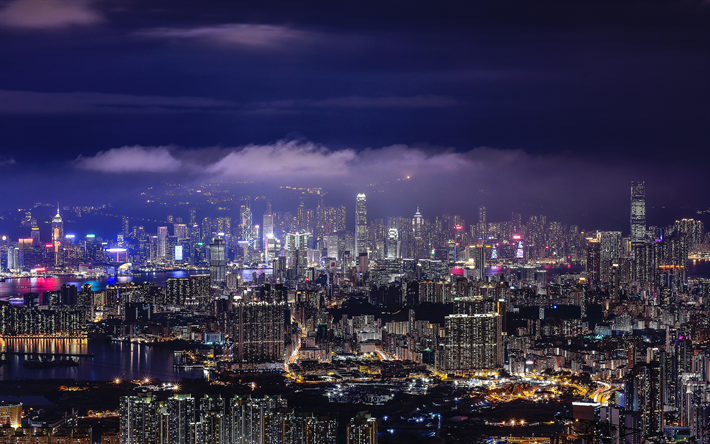 Download Wallpapers Hong Kong 4k Nightscapes Aerial View