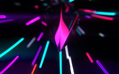 colorful neon rays, bokeh, abstract art, glowing background, creative, neon lights