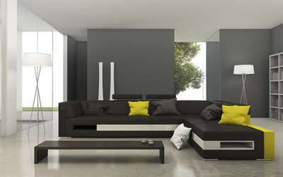 stylish interior of the living room, minimalism style, gray walls, modern interior design, gray sofa