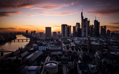 Frankfurt am Main, German city, evening, sunset, skyscrapers, Frankfurt cityscape, Germany