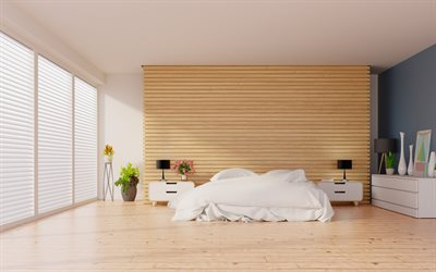 modern interior design, bedroom, minimalism style, wooden wall on the bed, wooden light boards, stylish interior design