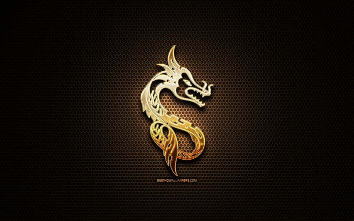 Download wallpapers Dragon glitter sign, chinese zodiac