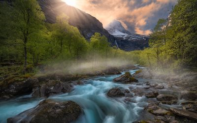 Romsdalen Valley, mountain river, mountain landscape, rocks, forest, morning, sunrise, Norway
