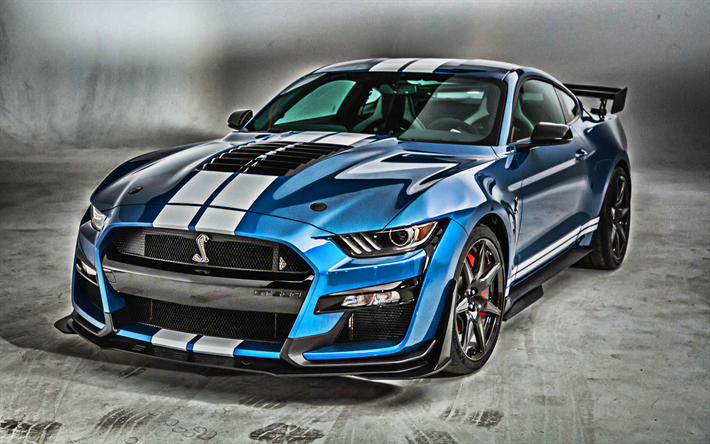 Download wallpapers 2020, Mustang Shelby GT500, blue sports coupe
