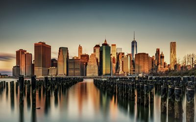 New York, Manhattan, evening, sunset, American metropolis, New York skyline, NY cityscape, United States