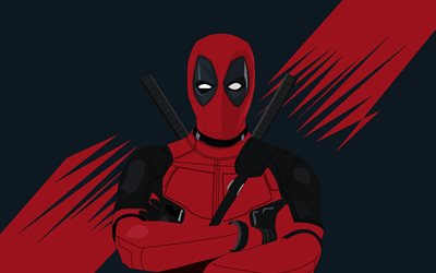 Deadpool, 4k, mínimo, superhéroes, fan art, de los Cómics de Marvel, Deadpool 4k