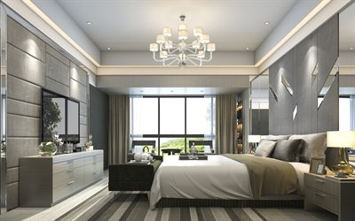bedroom, gray stylish interior, modern interior design, classic style, gray walls, bedroom design
