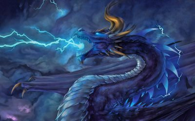 blue dragon, darkness, monster, blue lightings, dragon in smoke, dragon