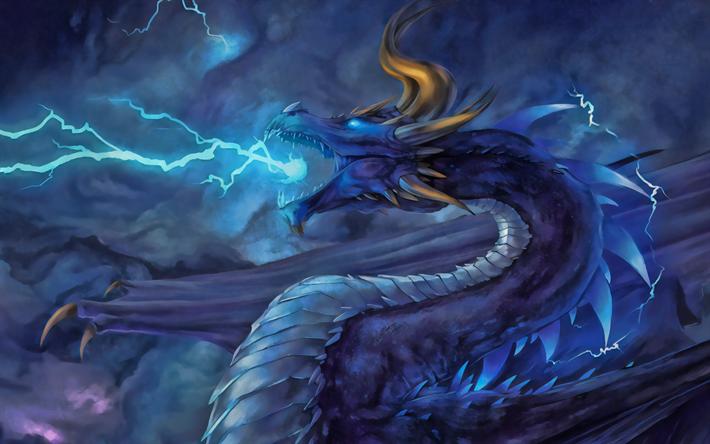 Scarica Sfondi Blue Dragon Il Buio Mostro Illuminazione Blu