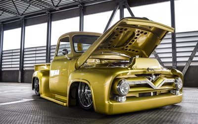 Ford F-100, Custom Cab, F-Series, retro pickup truck, tuning F-100, american classic cars, Ford