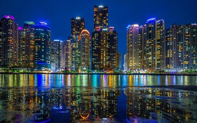 Busan, 4k, nightscapes, South Korean cities, skyscrapers, South Korea, Busan at night, Asia, asian cities