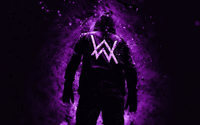 Alan Walker, 4k, superstars, dark violet neon lights, DJ Alan Walker, back view, DJs, Alan Olav Walker, fan art, Alan Walker 4K