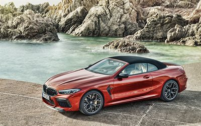 BMW M8 Competition Convertible, 2019, F91, exterior, front view, red coupe, convertible, new red M8, sports cars, German cars, BMW