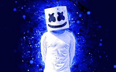 Marshmello DJ, 4k, dakr blue neon, american DJ, fan art, Christopher Comstock, Marshmello 4K, artwork, Marshmello, superstars, creative, DJ Marshmello, DJs