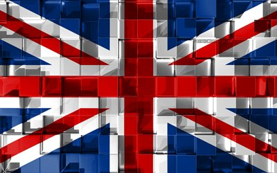 Flag of United Kingdom, 3d flag, Great Britain flag, 3d cubes texture, Flags of European countries, 3d art, United Kingdom, Europe, 3d texture, Great Britain