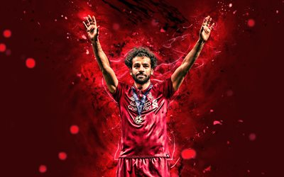 4k, Mohamed Salah, joy, Liverpool FC, personal celebration, egyptian footballers, LFC, fan art, Salah, Premier League, Joyful Mohamed Salah, goal, Mo Salah, soccer, neon lights, Salah Liverpool