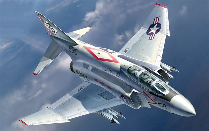 McDonnell Douglas F-4 Phantom II, American fighter bomber, F-4, US Navy, USN F-4J, US military aircraft
