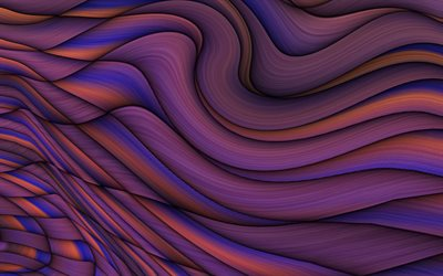 purple waves abstraction, purple creative background, waves background, purple abstraction background
