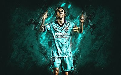 Lionel Messi, FC Barcelona, Argentinean soccer player, turquoise stone background, FC Barcelona blue uniform, creative art, Champions League, La Liga, football, Leo Messi