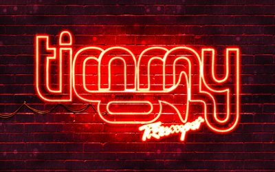 Timmy Trumpet logo rouge, 4k, superstars, australien DJs, rouge brickwall, Timmy Trumpet logo, Timothy Jude Smith, Timmy Trumpet, stars de la musique, Timmy Trumpet néon logo