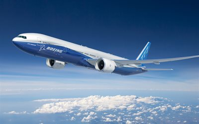 Boeing 777-300ER, passenger plane, airliner, Boeing, airplane in the sky, Boeing 777