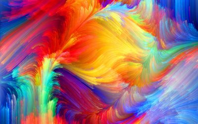 4k, colorful abstract rays, artwork, colorful abstract waves, abstract art, abstract wavy background, background with waves, creative