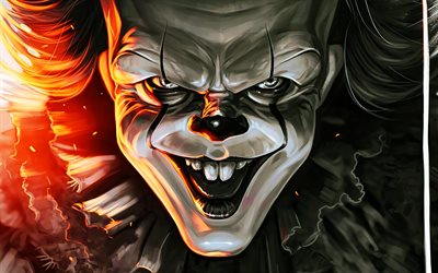 pennywise, 4k, grafik, it-kapitel zwei -, portrait -, detektiv-filme, clown -, fan-kunst
