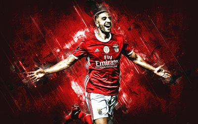 Adel Taarabt, Moroccan footballer, Benfica, portrait, red stone background, Portugal, football, SL Benfica