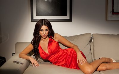 Georgia Salpa, Greek model, brunette, beautiful woman, red dress, greek woman