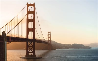 Golden Gate-Bron, San Francisco, Kalifornien, Suspension bridge, sunset, USA