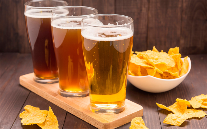 Download Wallpapers Beer Glasses With Beer Potato Chips