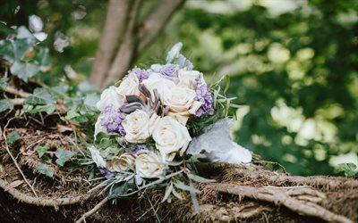 Wedding bouquet, roses, bouquet of the bride, forest, beautiful bouquets