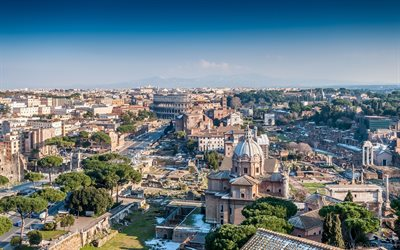 Rome, Colosseum, panorama, beautiful city, summer, Italy