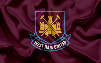 West Ham United FC, Football Club, Premier League, fotboll, London, STORBRITANNIEN, England, flagga, emblem, West Ham United logotyp, Engelska football club