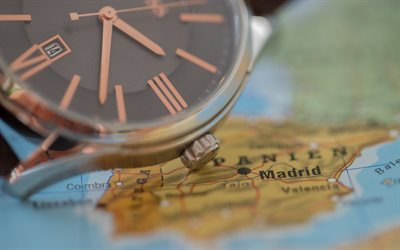 Travel to Spain, concept, clock face, map of Spain, tourism, travels