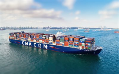CMA CGM Antoine de Saint Exupery, container ship, tug, CMA CGM, container carrier, cargo ship