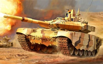 T-90, Russian MBT, tanks, Russian Army, desert, T-90 Vladimir, armored vehicles