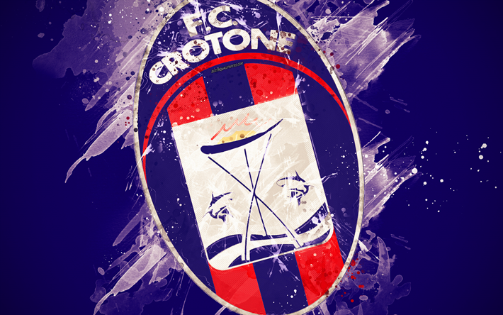 Download wallpapers FC Crotone, 4k, paint art, creative, logo, Italian  football team, Serie B, emblem, blue background, grunge style, Crotone,  Italy, football for desktop free. Pictures for desktop free
