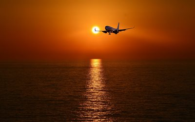 passenger aircraft, sunset, sky, seascape, airliner, passenger air transportation, air travel concepts
